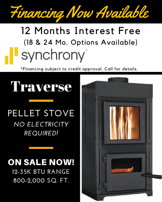Financing now available. The Traverse Pellet Stove, No electricity required